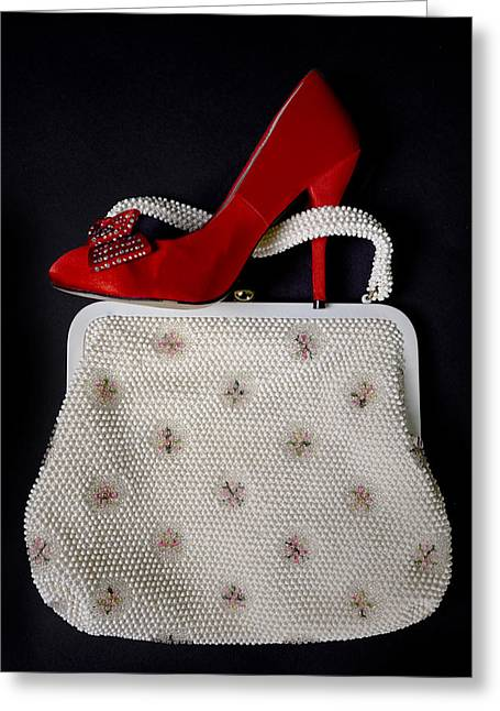 Red Purse Greeting Cards - Handbag With Stiletto Greeting Card by Joana Kruse