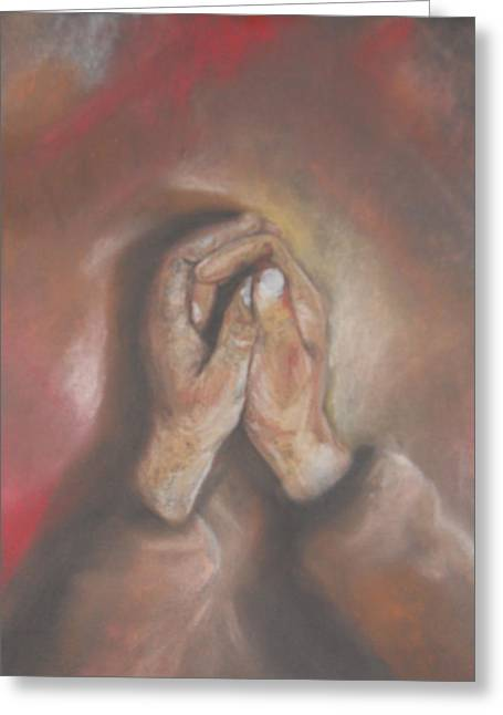 Faith Pastels Greeting Cards - Hands Greeting Card by Grady Simmons