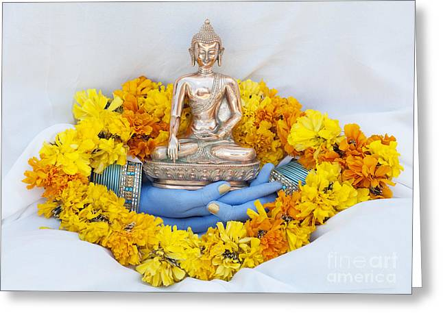 Buddha Photographs Greeting Cards - Hands holding Buddha Greeting Card by Tim Gainey