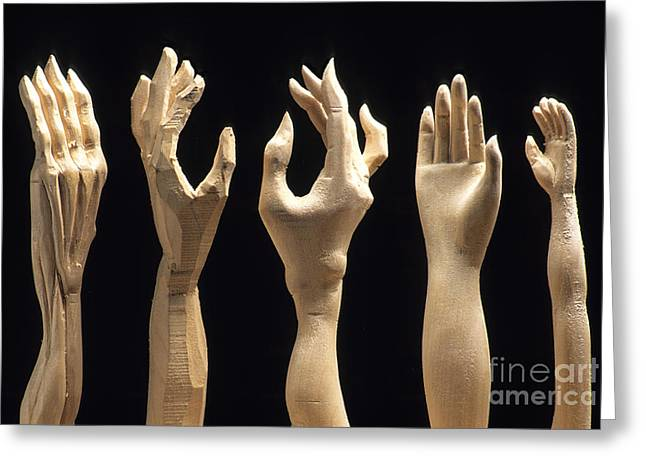 Woodcarving Greeting Cards - Hands of wood puppets Greeting Card by Bernard Jaubert