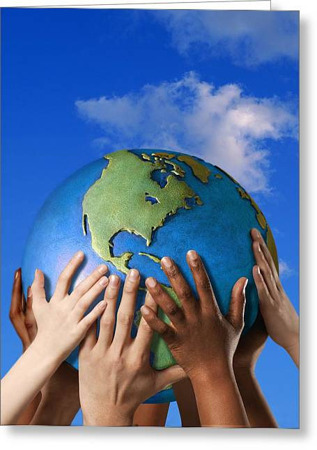 Ethnic Diversity Greeting Cards - Hands On A Globe Greeting Card by Don Hammond