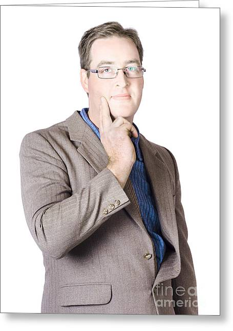 Casual Portraits Greeting Cards - Handsome businessman thinking Greeting Card by Ryan Jorgensen