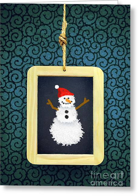 New Year Greeting Cards - Hanged Xmas Slate - Snowman Greeting Card by Carlos Caetano