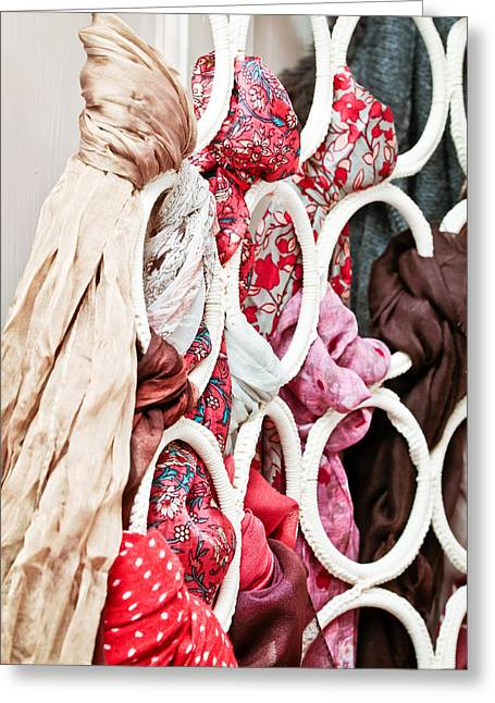 Bandana Greeting Cards - Hanging scarfs Greeting Card by Tom Gowanlock