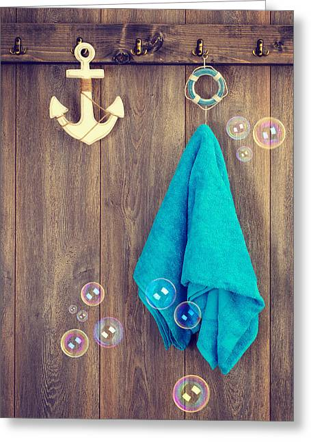 Bath Room Greeting Cards - Hanging Towel Greeting Card by Amanda And Christopher Elwell