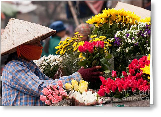 Viet Nam Greeting Cards - Hanoi Flowers 03 Greeting Card by Rick Piper Photography