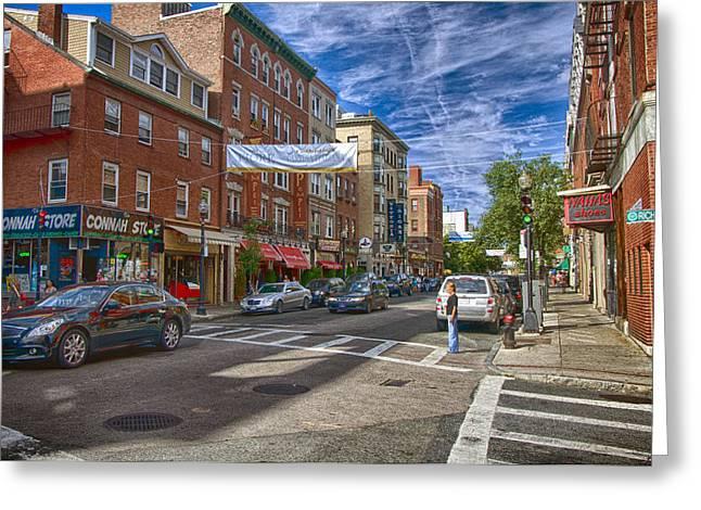 Boston North End Greeting Cards - Hanover St. Greeting Card by Joann Vitali