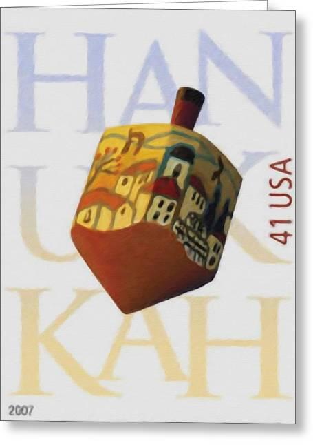 Spinning Top Paintings Greeting Cards - Hanukkah Greeting Card by Lanjee Chee