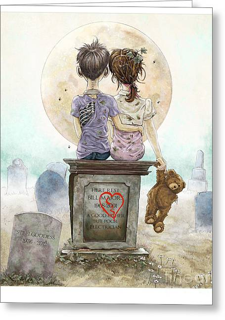 Children Story Book Digital Greeting Cards - Happily Ever After Greeting Card by Steel Goddess
