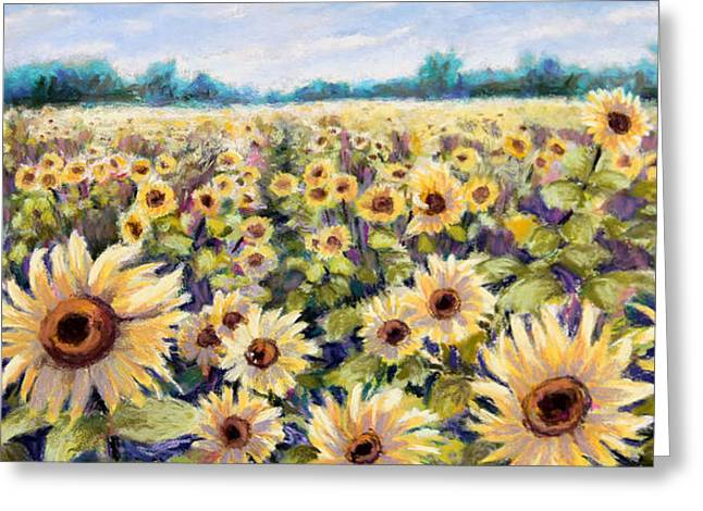 Sunflowers Pastels Greeting Cards - Happiness Field Greeting Card by Susan Jenkins