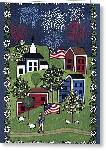 4th July Paintings Greeting Cards - Happy 4th of July Greeting Card by Medana Gabbard