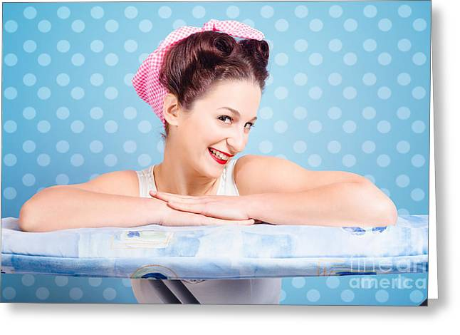 Happy 60s Pinup Housewife On Blue Ironing Board Greeting Card by Jorgo Photography - Wall Art Gallery