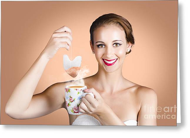 Coffee Drinking Greeting Cards - Happy Beautiful Pin Up Girl Drinking Tea Or Coffee Greeting Card by Ryan Jorgensen