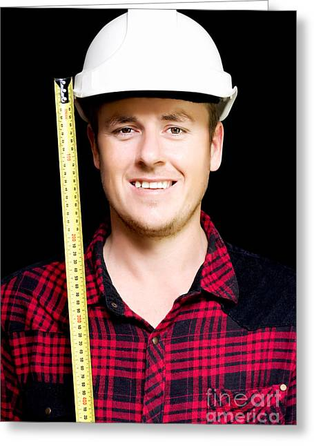 Happy Builder With A Tape Measure Greeting Card by Jorgo Photography - Wall Art Gallery
