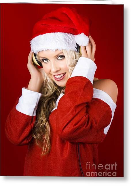 Harmonize Greeting Cards - Happy Dj Christmas Girl Listening To Xmas Music Greeting Card by Ryan Jorgensen