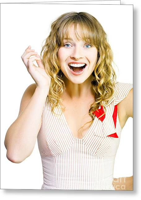 Animate Greeting Cards - Happy excited woman with wide smile Greeting Card by Ryan Jorgensen