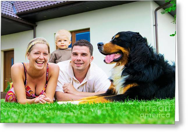Three Generations Greeting Cards - Happy family and house Greeting Card by Michal Bednarek
