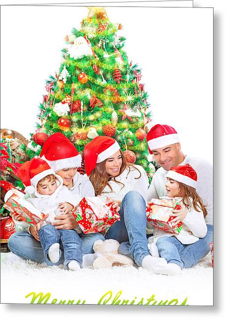 Daughter Gift Greeting Cards - Happy family in Christmas eve Greeting Card by Anna Omelchenko