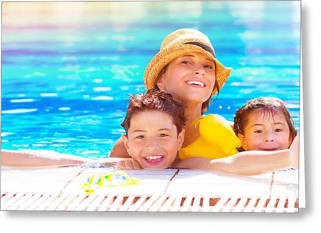 Floating Girl Greeting Cards - Happy family in the pool Greeting Card by Anna Omelchenko