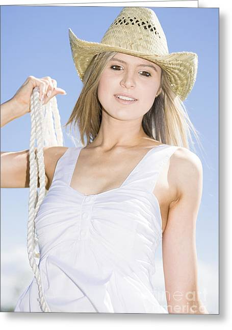 Enthusiastic Greeting Cards - Happy Farm Woman Greeting Card by Ryan Jorgensen