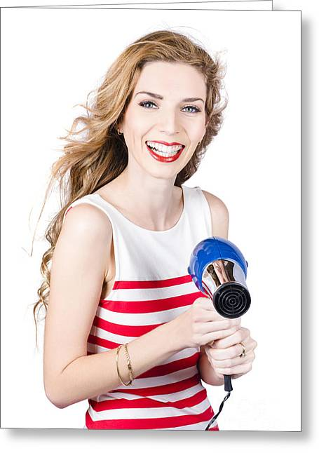 Hairstylists Greeting Cards - Happy female hairdresser holding hairdryer Greeting Card by Ryan Jorgensen