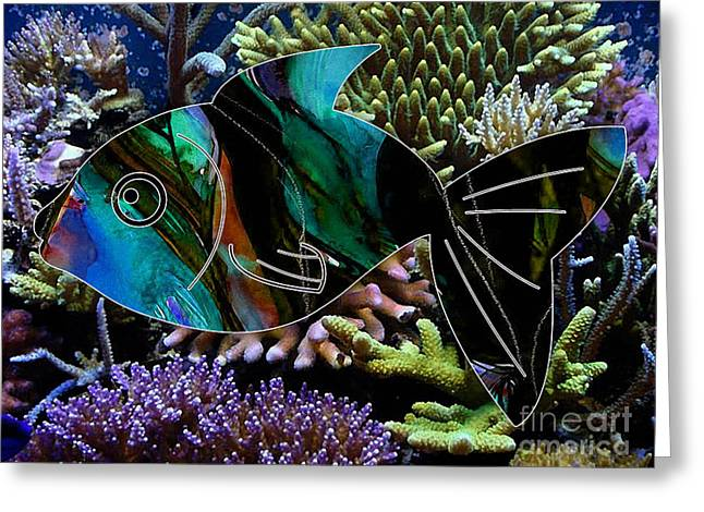 Happy Fish Greeting Card by Marvin Blaine