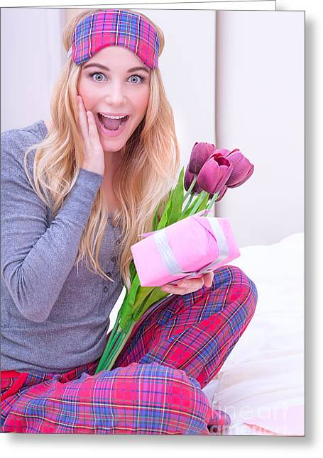 Pajamas Greeting Cards - Happy girl receive gifts Greeting Card by Anna Omelchenko