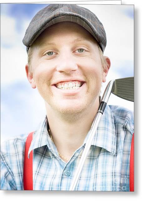 Suspenders Greeting Cards - Happy Golfer Greeting Card by Ryan Jorgensen