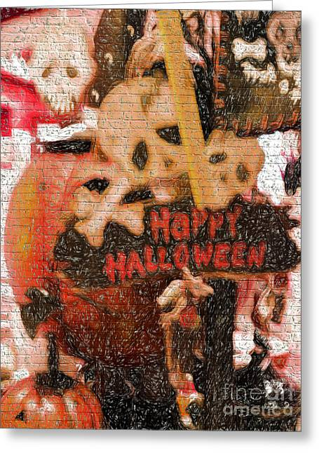 Jacko Greeting Cards - Happy Halloween Greeting Card by Gillian Singleton