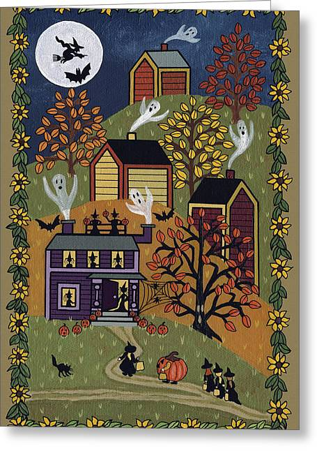"""""""haunted House"""" Paintings Greeting Cards - Happy Halloween Greeting Card by Medana Gabbard"""