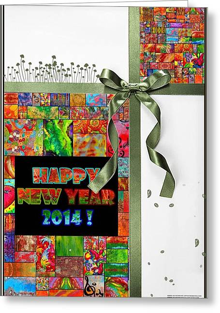 Rainbow Fantasy Art Greeting Card Greeting Cards - Happy New Year 2014 Greeting Card by Julia Fine Art And Photography