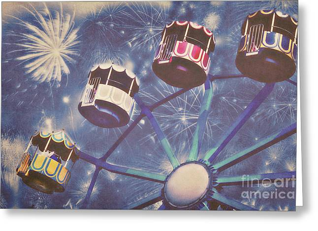Fireworks Mixed Media Greeting Cards - Happy New Year Greeting Card by Angela Doelling AD DESIGN Photo and PhotoArt