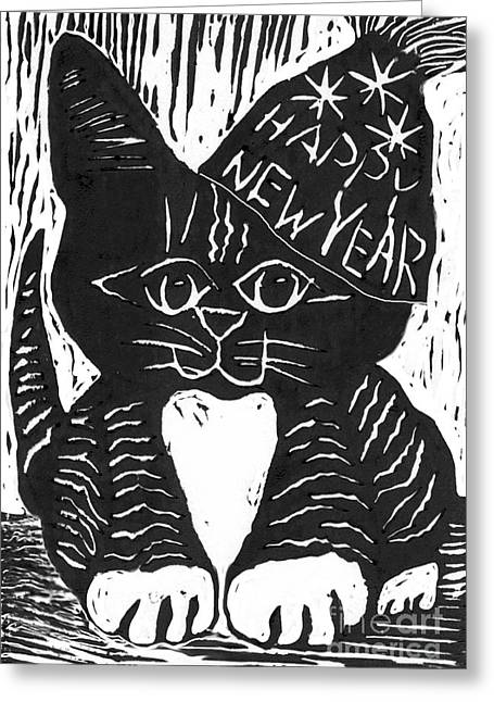 Relief Print Paintings Greeting Cards - Happy New Year Cat  Greeting Card by Ellen Miffitt