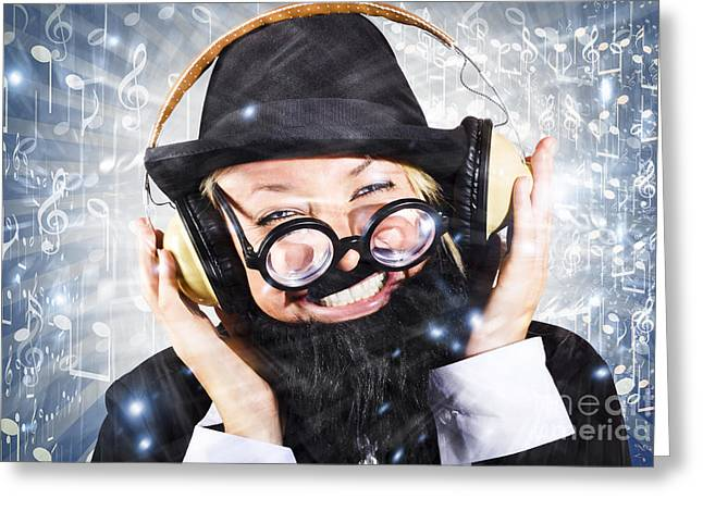 Happy Nightclub Man Dancing At Silent Disco Party Greeting Card by Jorgo Photography - Wall Art Gallery