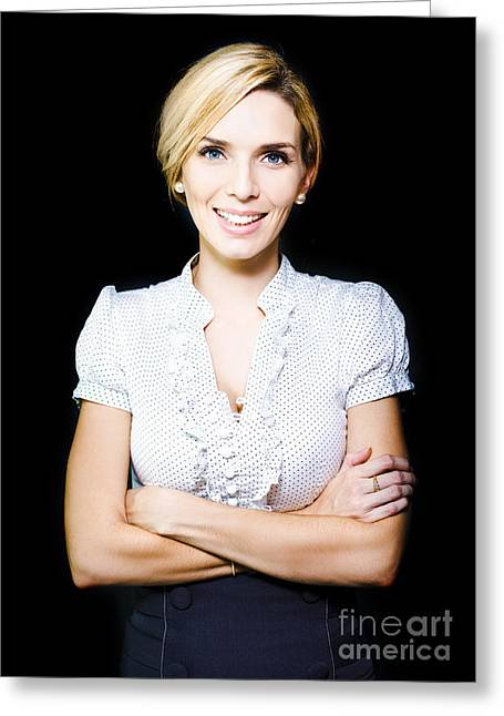 Happy Positive Female Business Person With Smile Greeting Card by Jorgo Photography - Wall Art Gallery