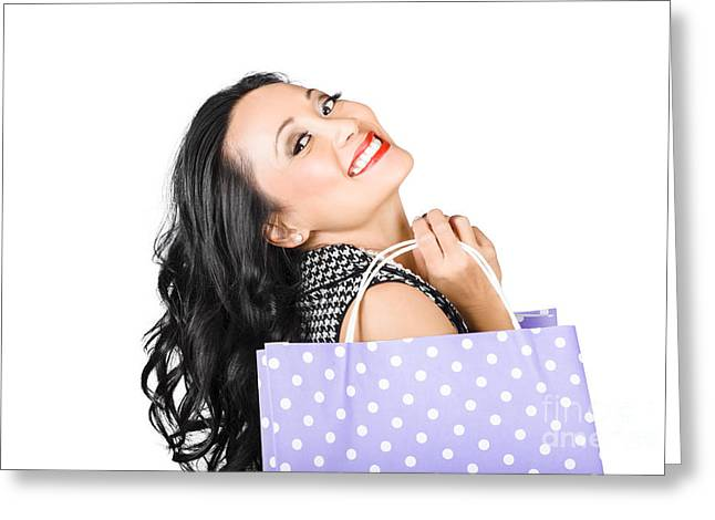 Satisfaction Greeting Cards - Happy shopping woman smiling with sale purchase Greeting Card by Ryan Jorgensen