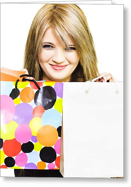 Expenditure Greeting Cards - Happy smiling woman holding shopping bags Greeting Card by Ryan Jorgensen