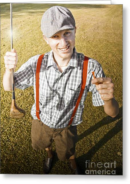 Suspenders Greeting Cards - Happy The Golf Man Greeting Card by Ryan Jorgensen