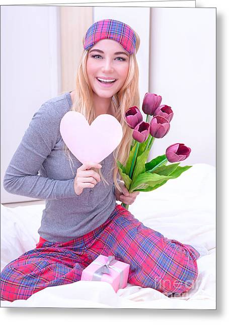 Pajamas Greeting Cards - Happy woman receive gifts Greeting Card by Anna Omelchenko
