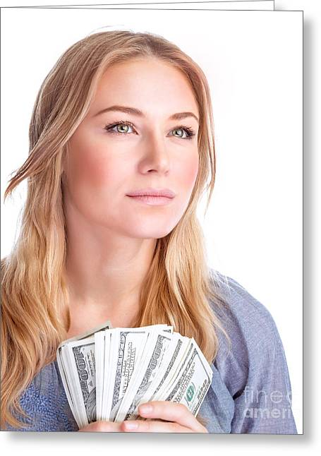 Young Money Greeting Cards - Happy woman with money Greeting Card by Anna Omelchenko