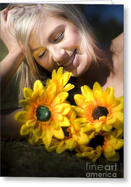 Youthful Greeting Cards - Happy Woman With Sunflowers Greeting Card by Ryan Jorgensen