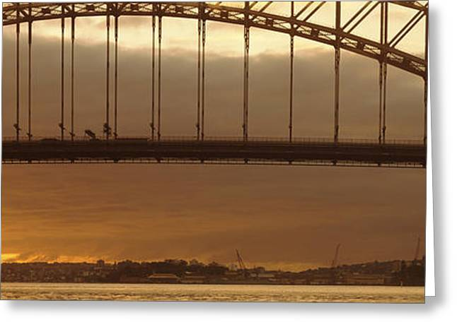 Geometric Image Greeting Cards - Harbor Bridge Sydney Australia Greeting Card by Panoramic Images