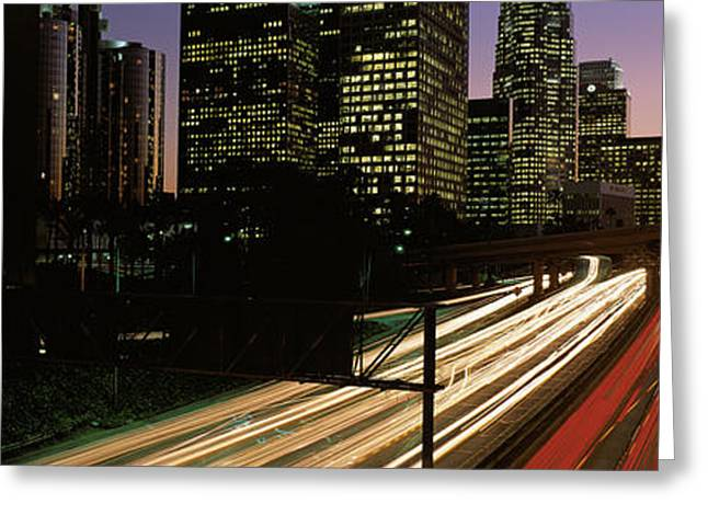 Los Angeles Freeways Greeting Cards - Harbor Freeway Los Angeles Ca Greeting Card by Panoramic Images