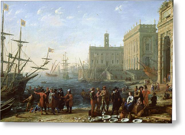 Trader Greeting Cards - Harbor Scene Greeting Card by Claude Lorrain