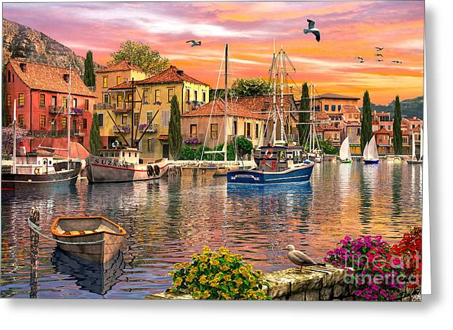 Seagulls Digital Art Greeting Cards - Harbour Sunset Greeting Card by Dominic Davison