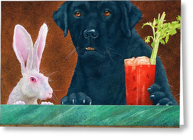 Hare Greeting Cards - Hare Of The Dog... Greeting Card by Will Bullas
