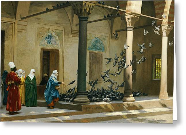 Jean Leon Gerome Greeting Cards - Harem Women Feeding Pigeons in a Courtyard Greeting Card by Jean Leon Gerome