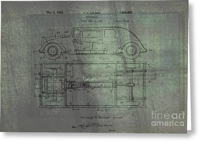 Historic Vehicle Mixed Media Greeting Cards - Harleigh Holmes Automobile Patent From 1932 Greeting Card by Michael Braham