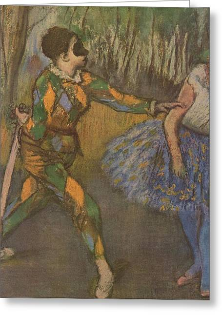 Ballet Dancers Greeting Cards - Harlekin und Colombine Greeting Card by Edgar Degas