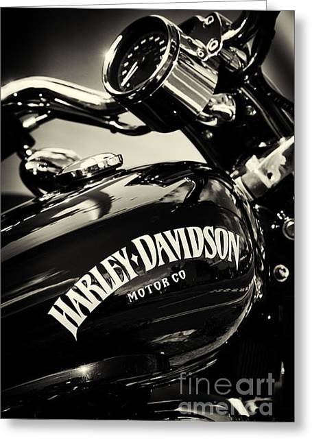 Harley D Sepia Greeting Card by Tim Gainey